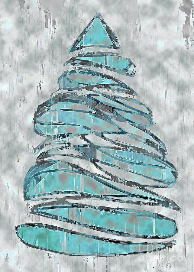 Tree Drawing - Blue Christmas, 5x7 by Banyan Ranch Studios