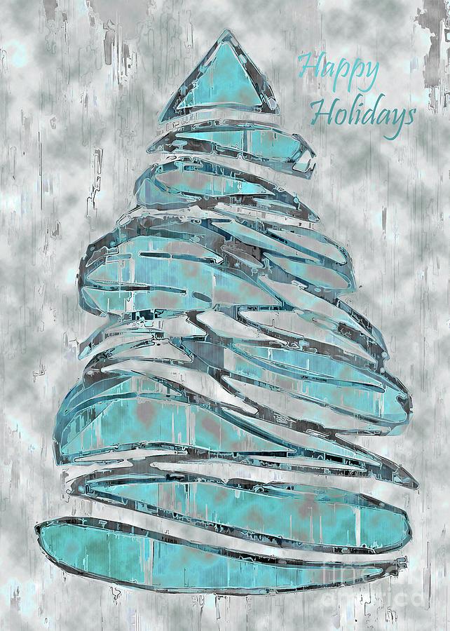 Tree Mixed Media - Blue Christmas, 5x7 Happy Holidays by Banyan Ranch Studios