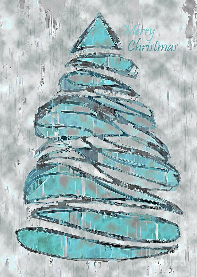 Tree Mixed Media - Blue Christmas, 5x7 Merry Christmas by Banyan Ranch Studios