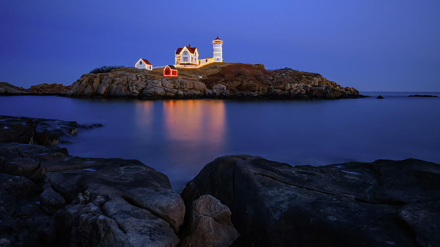 Blue Christmas, Nubble Lighthouse by Michael Hubley
