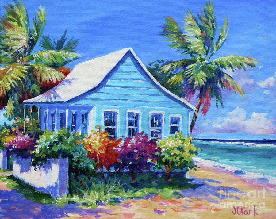 Painting Painting - Blue Cottage On The Beach by John Clark