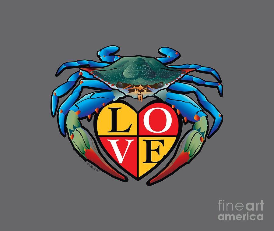 Maryland Digital Art - Blue Crab LOVE Crest by Joe Barsin