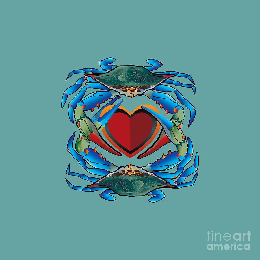 Maryland Digital Art - Blue Crabs LOVE by Joe Barsin