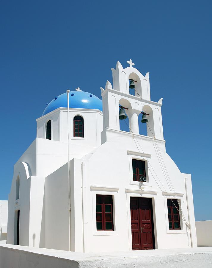 Blue cupola on Greek church by Paul Cowan