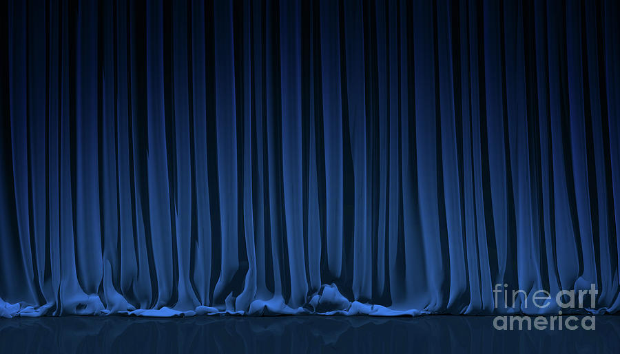 Blue Curtain In Theater Photograph by Yodiyim
