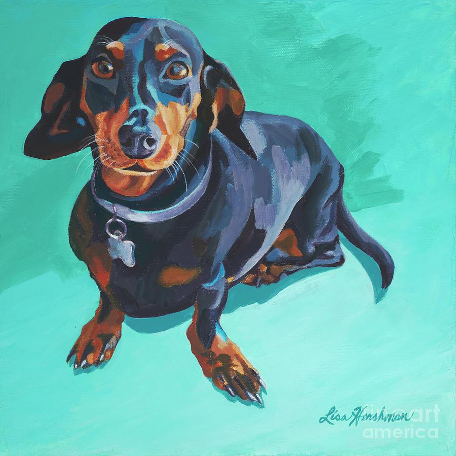Dachshund Painting - Blue Dachshund  by Lisa Hershman