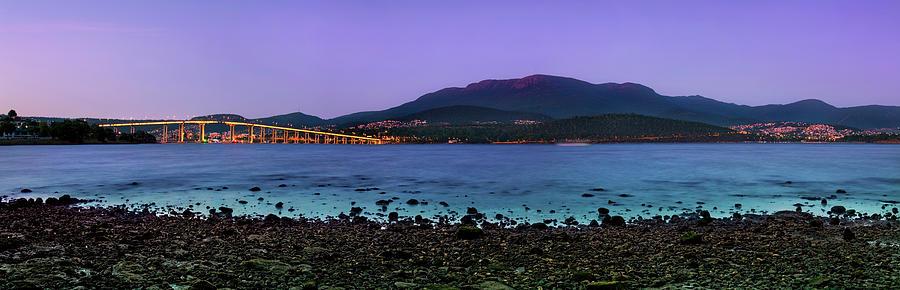 Tasman Bridge Photograph - Blue Derwent by Sean Davey