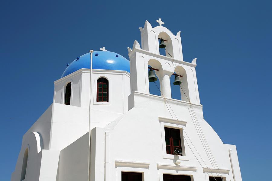 Blue domed Greek church by Paul Cowan