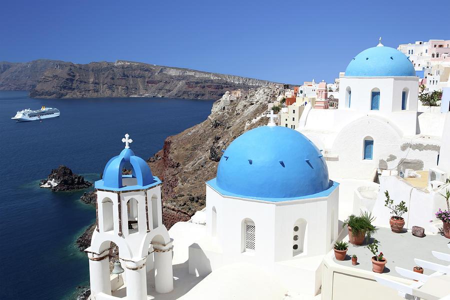 Blue Domes Of Santorini Photograph by Jurgar