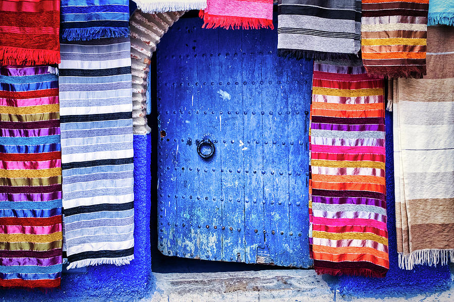 Blue Door and Tapestries - Morocco by Stuart Litoff