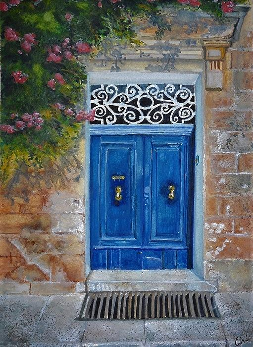 Malta Painting - Blue Door Malta by Lisa Cini