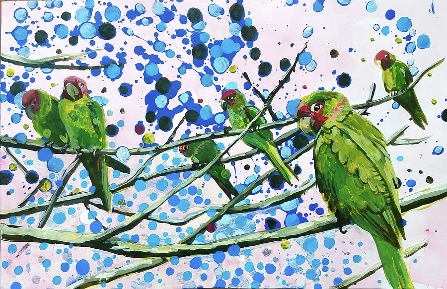 Blue Dot Parakeets by Tilly Strauss