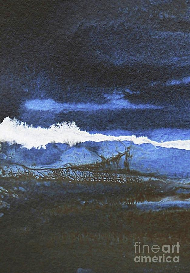 Abstract Landscape Painting - Blue Dusk #2 - Abstract Landscape by Vesna Antic