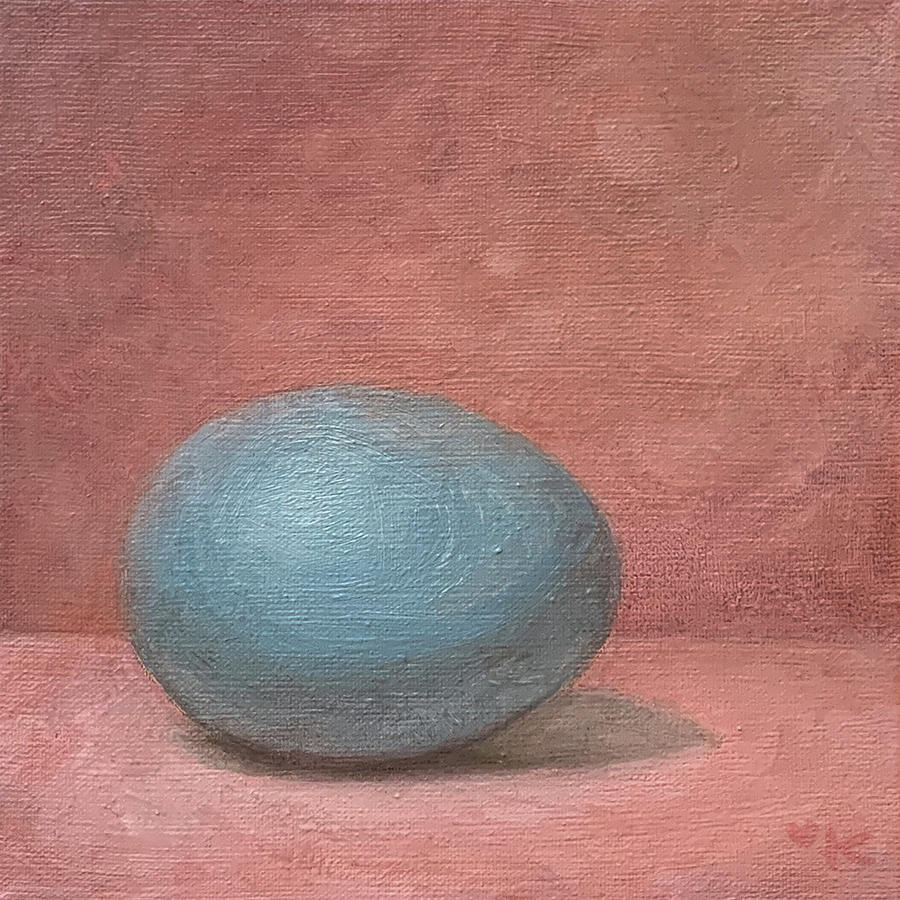 Pink Painting - Blue Egg in a Pink Space by Kato D