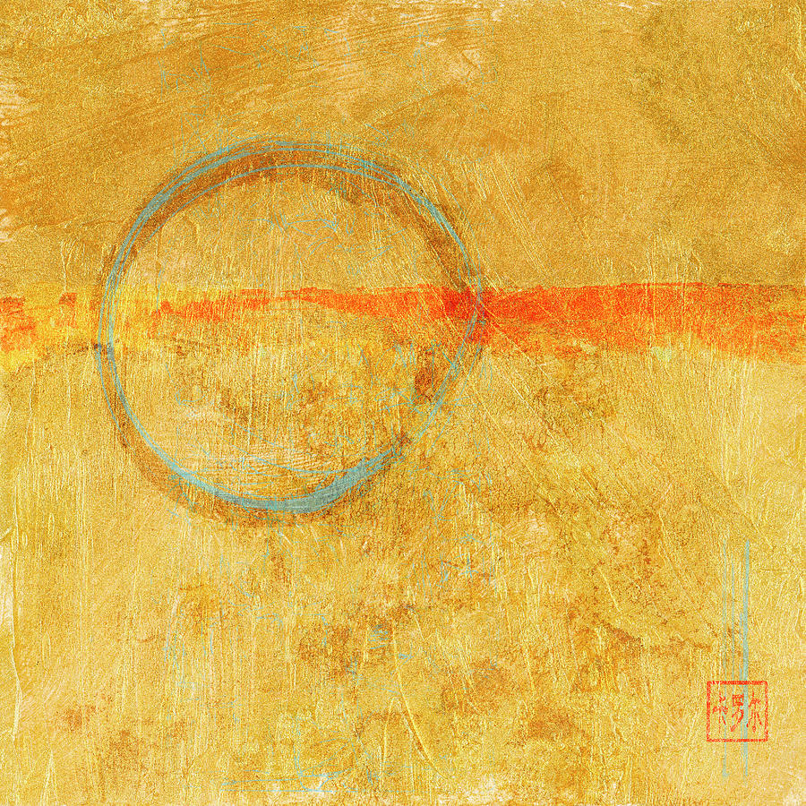 Blue Enso on Plaster by Carol Leigh