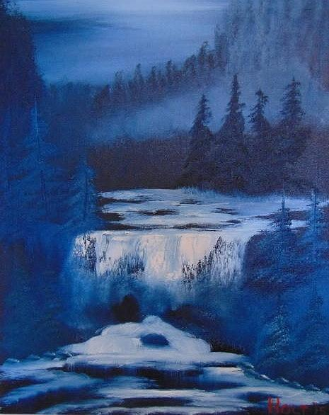 Bob Ross Style Painting - Blue Falls. by Alan K Holt