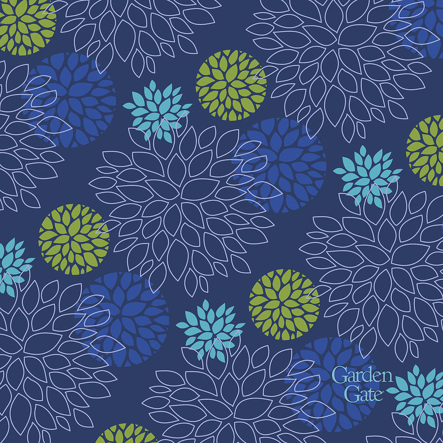 Blue floral print with logo by Garden Gate magazine