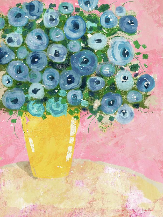 Blue Flowers in A Yellow Vase- Art by Linda Woods by Linda Woods