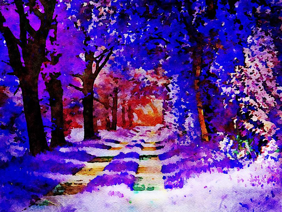 Blue forest - Watercolor Painting by Patricia Piotrak