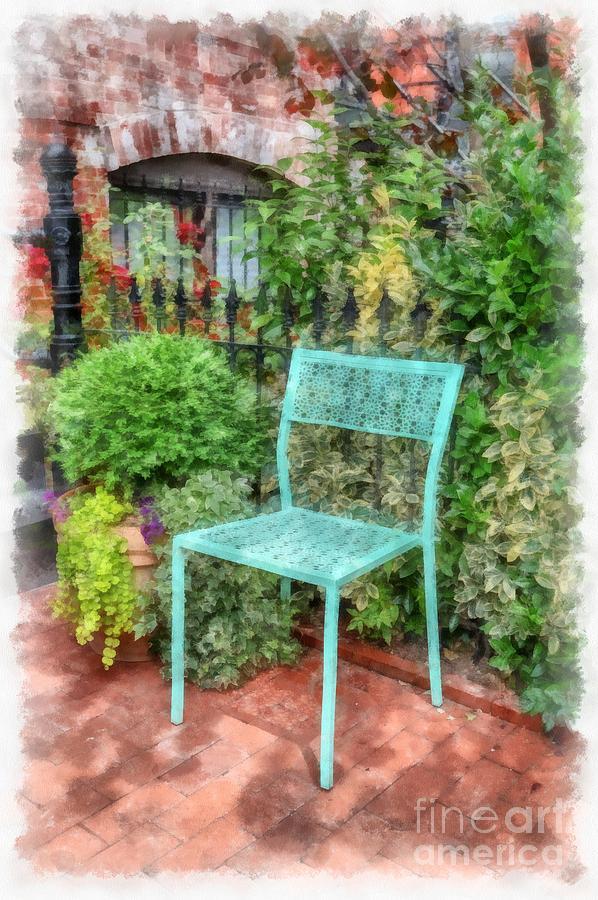 Chair Photograph - Blue Garden Chair Watercolor by Edward Fielding
