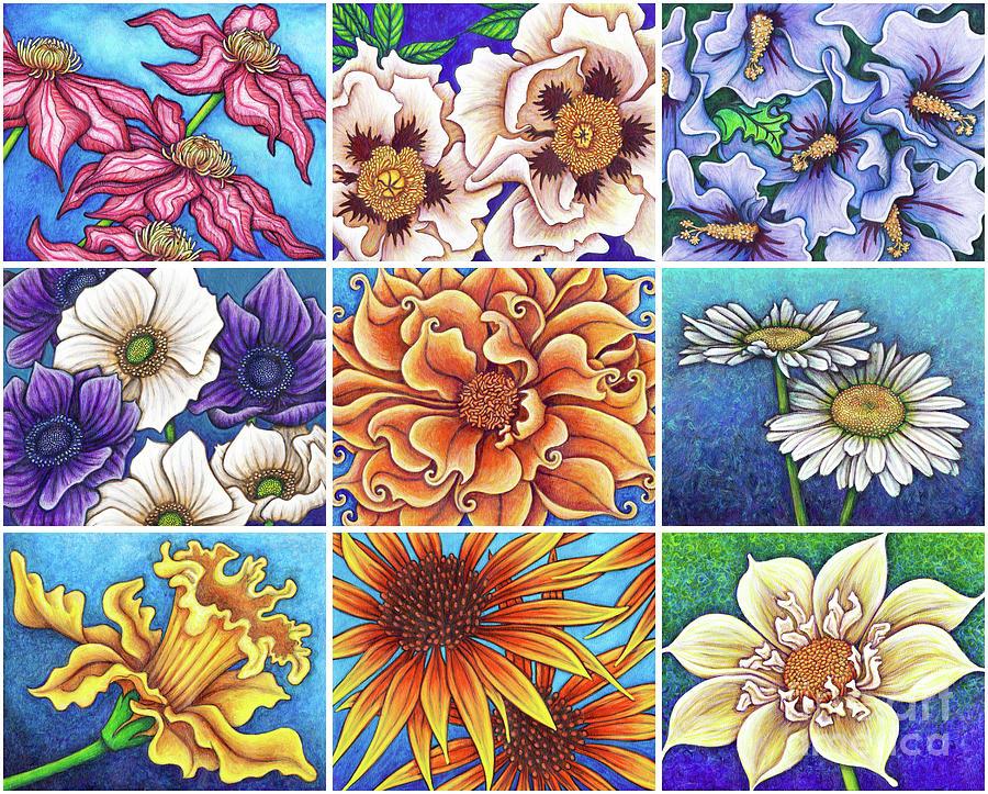 Blue Garden Patchwork 2 by Amy E Fraser
