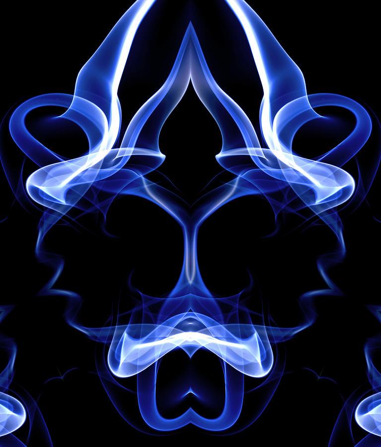 Blue Ghostly Headgear Digital Art by David Crausby