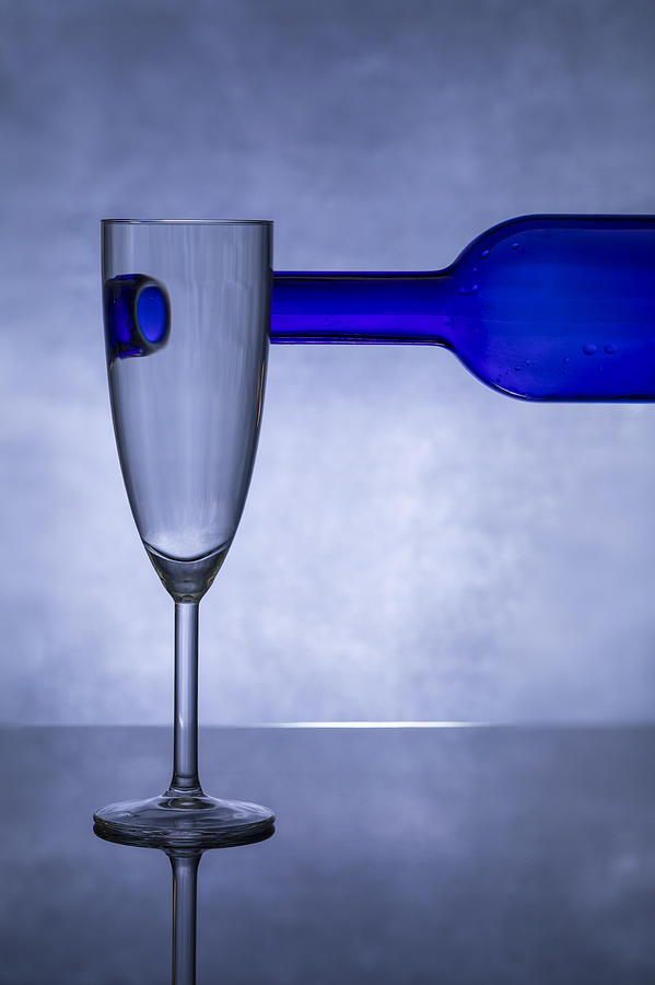 Blue Photograph - Blue Glass #3 by Azriel Yakubovitch
