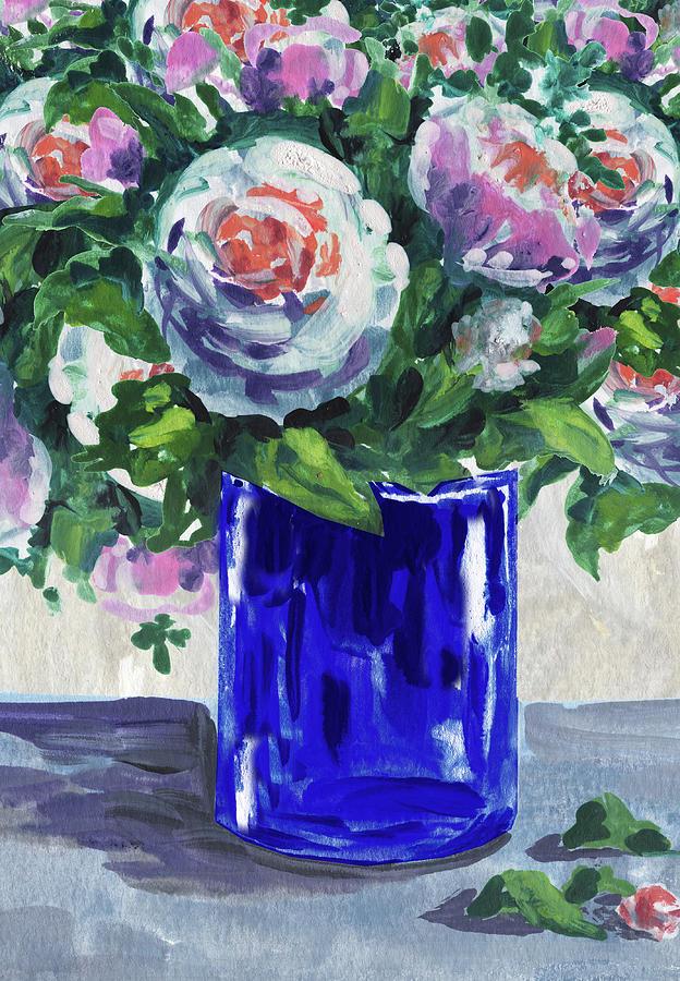 Blue Glass And Flowers Bouquet Impressionism  by Irina Sztukowski