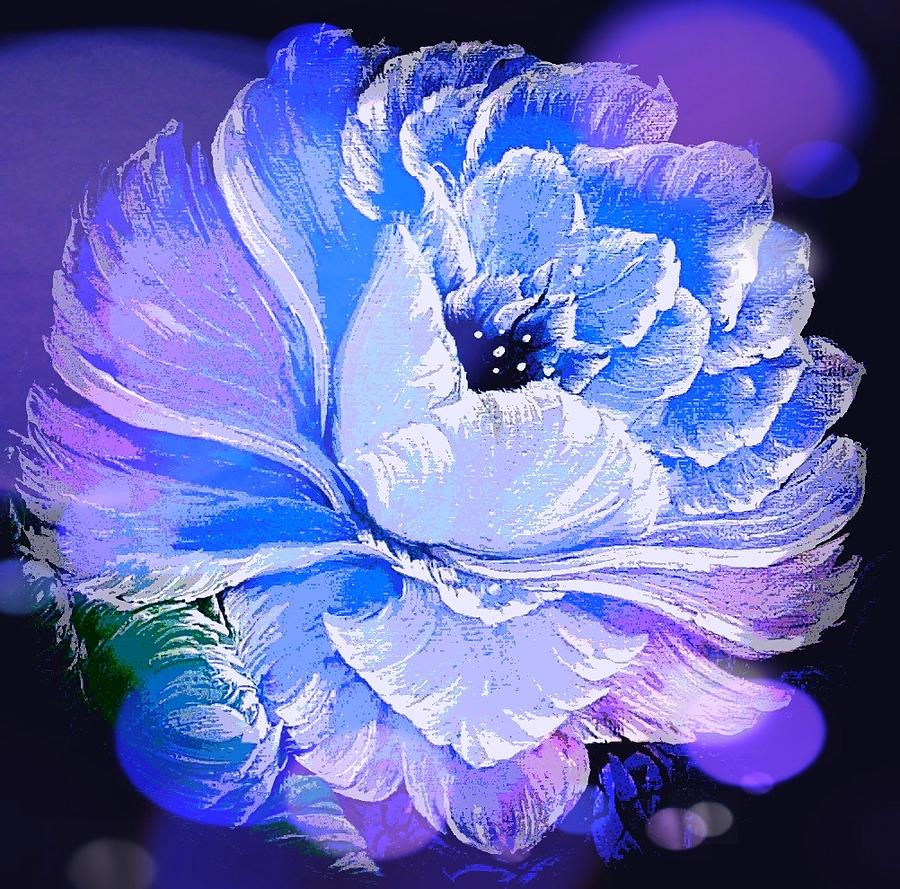 Blue Painting - Blue Gorgeous Rose Stardust Blue by Angela Whitehouse