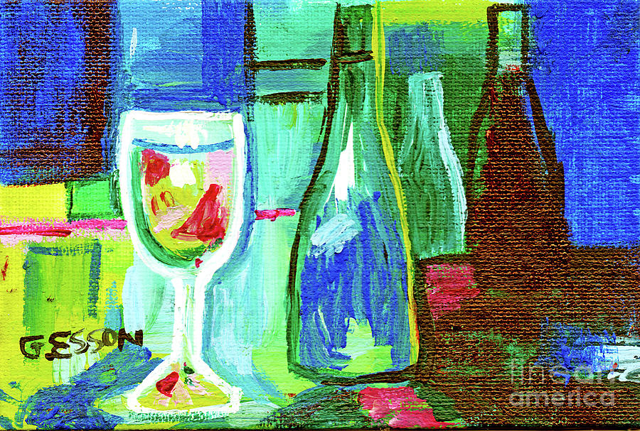 Blue Green Wine Abstract by Genevieve Esson