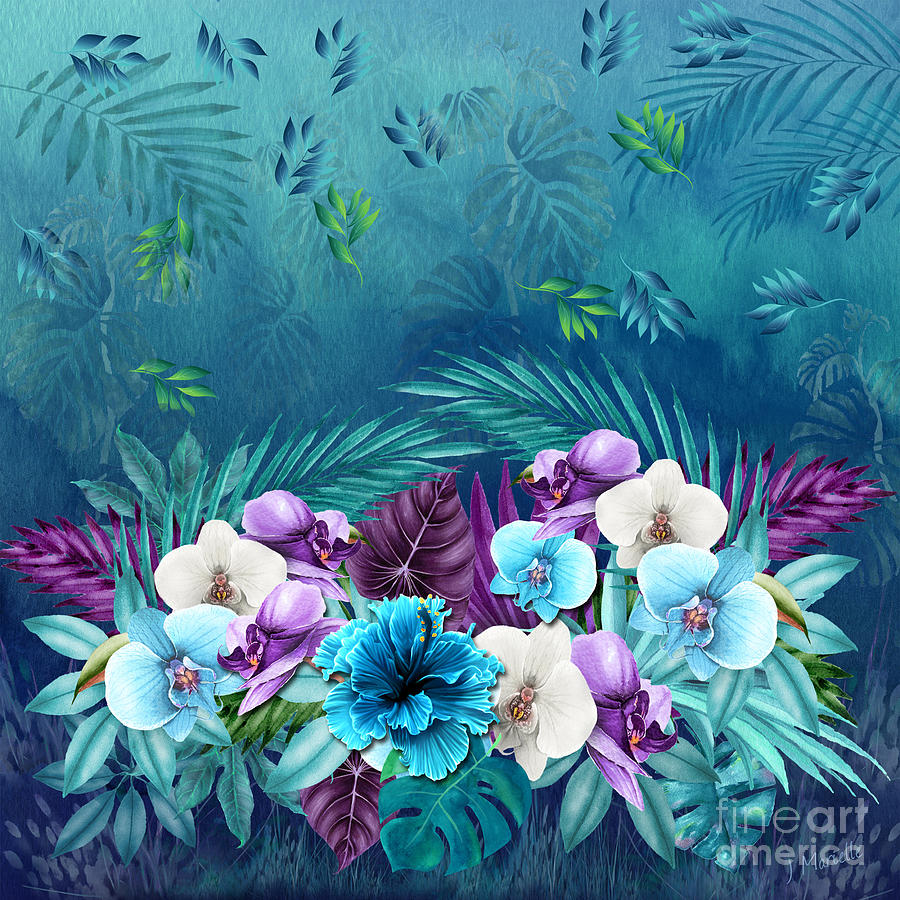 Blue Hawaii Flower Gathering by J Marielle