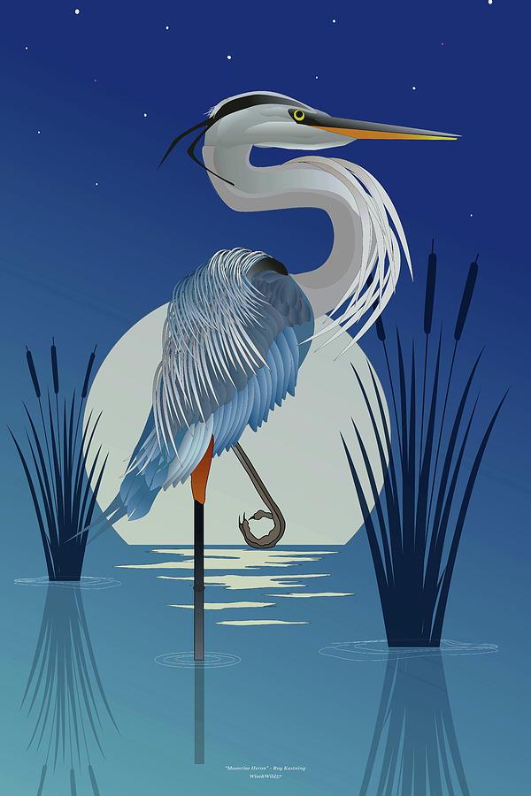 Blue Heron Moonrise by WiseWild57