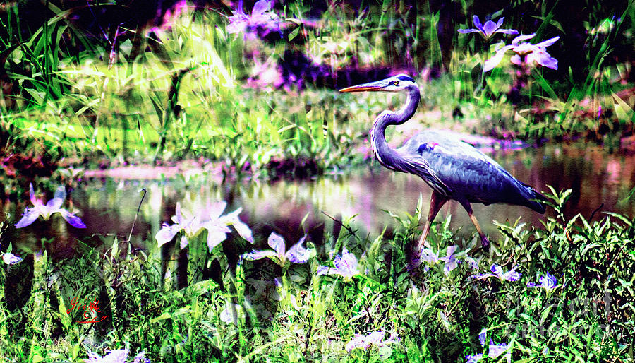 Blue Heron Wetland Magic Landscape Digital Art by Ginette Callaway
