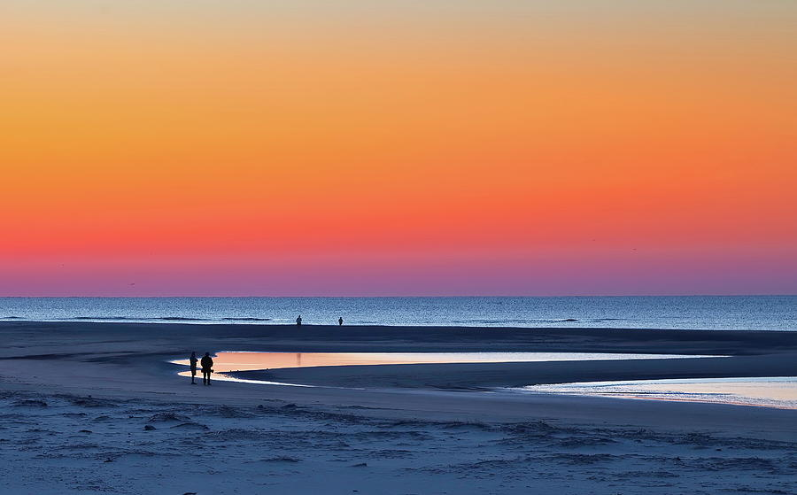 Blue Hour Beach Under Orange Sunrise by Darryl Brooks