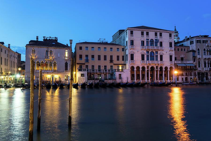 Blue Hour on the Grand Canal - Canalazzo Venice Italy by Georgia Mizuleva