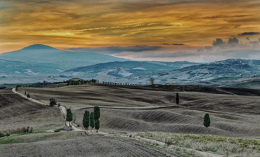 Blue Hour Over Val D'Orcia by Fred Greco