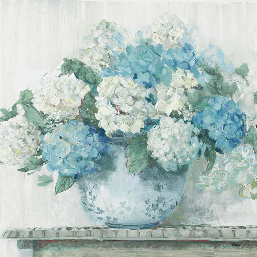 Blue Painting - Blue Hydrangea Cottage Crop by Carol Rowan