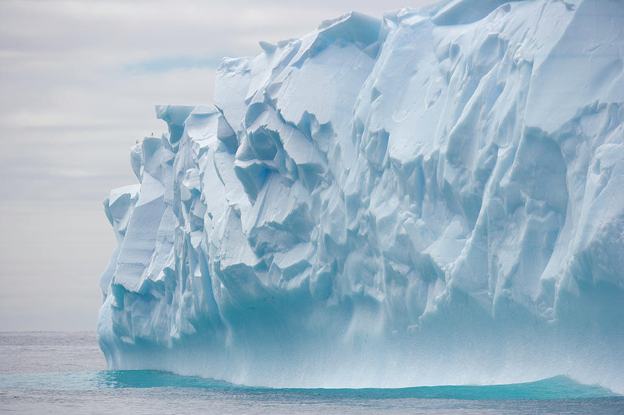 Blue Iceberg Carved By Waves Floats In Photograph by Eastcott Momatiuk