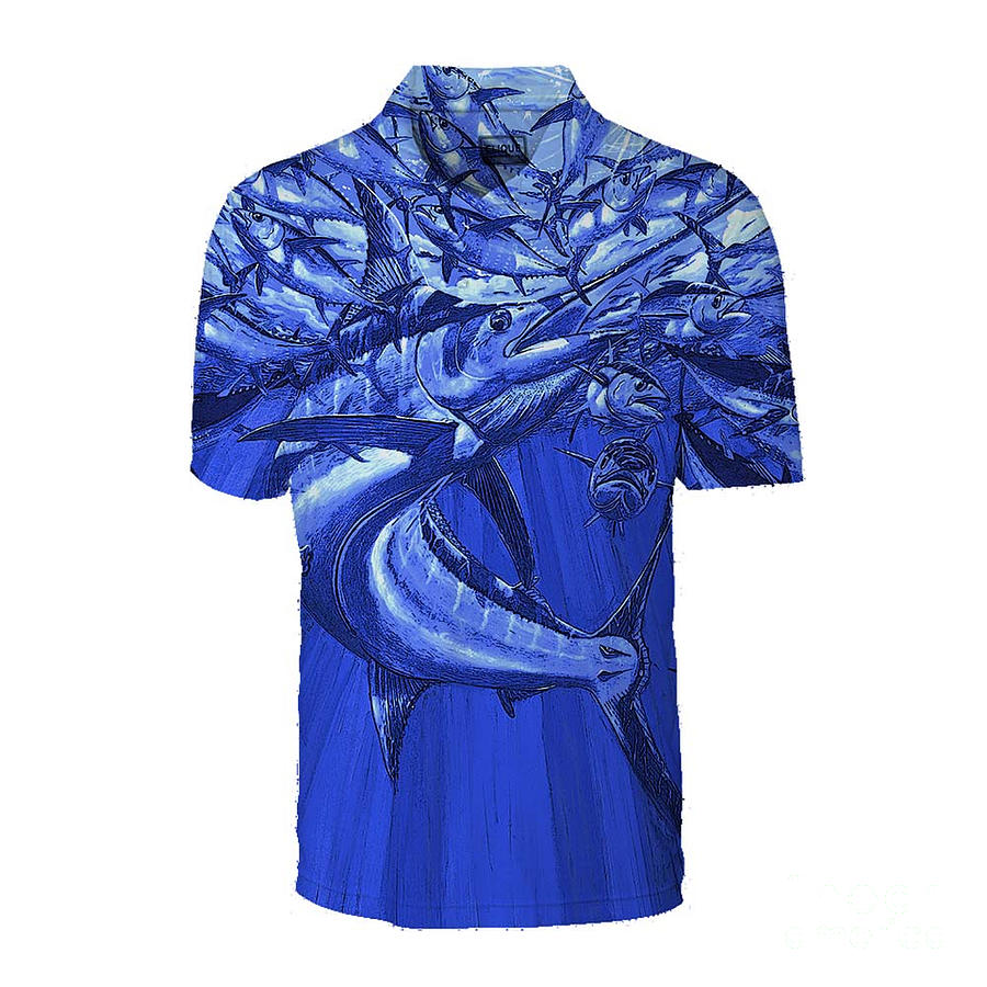 Polo Painting - Blue Intruder Mens Polo by Carey Chen