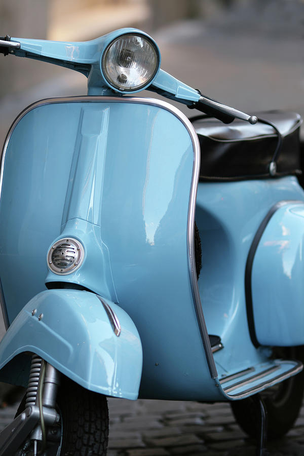 Blue Italian Vintage Scooter In Rome Photograph by Romaoslo