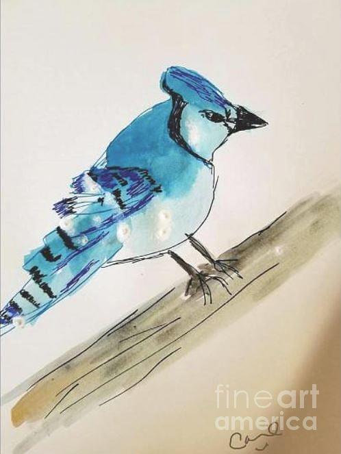 Blue Jay Painting - Blue Jay By Rose Elaine  by Rose Elaine