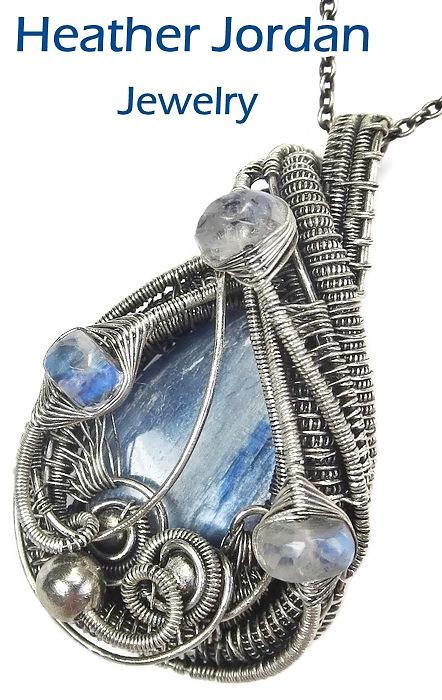 Blue Kyanite and Sterling Silver Wirewrapped Pendant