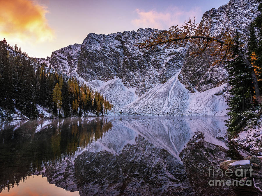 Blue Lake Fall Colors Sunrise Light Photograph