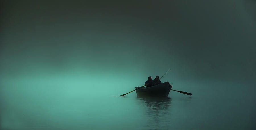 Blue Lake Fog With Row Boat Photograph by Bill Hinton Photography