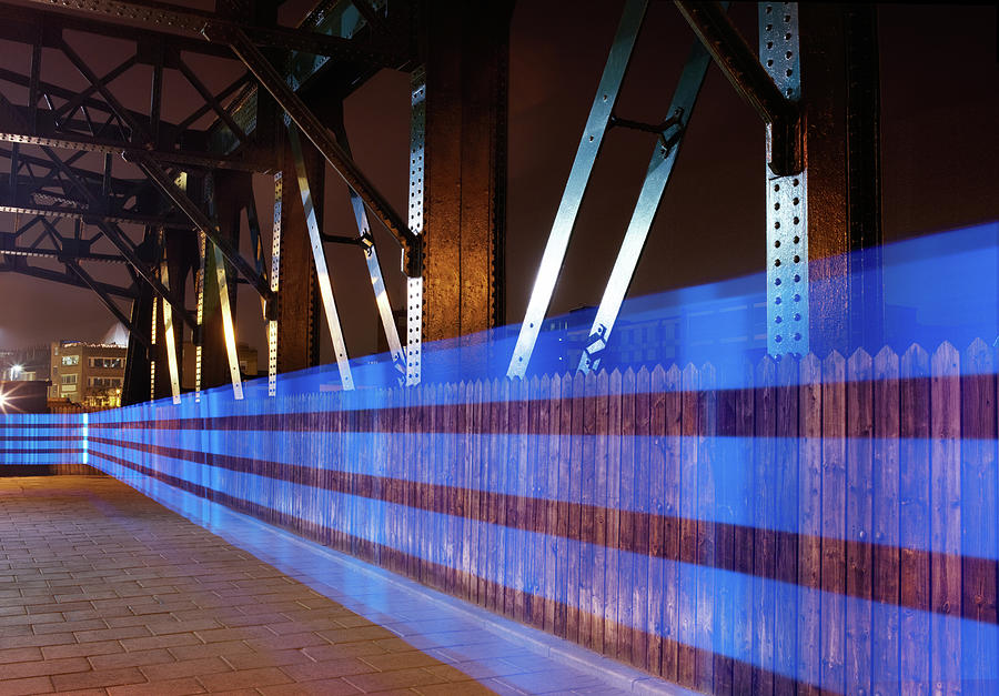 Blue Light Trail On Bridge Photograph by Tim Robberts