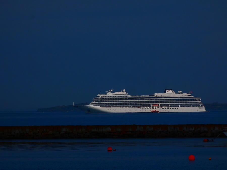 Blue Sky Photograph - Blue Liner by Nik Watt
