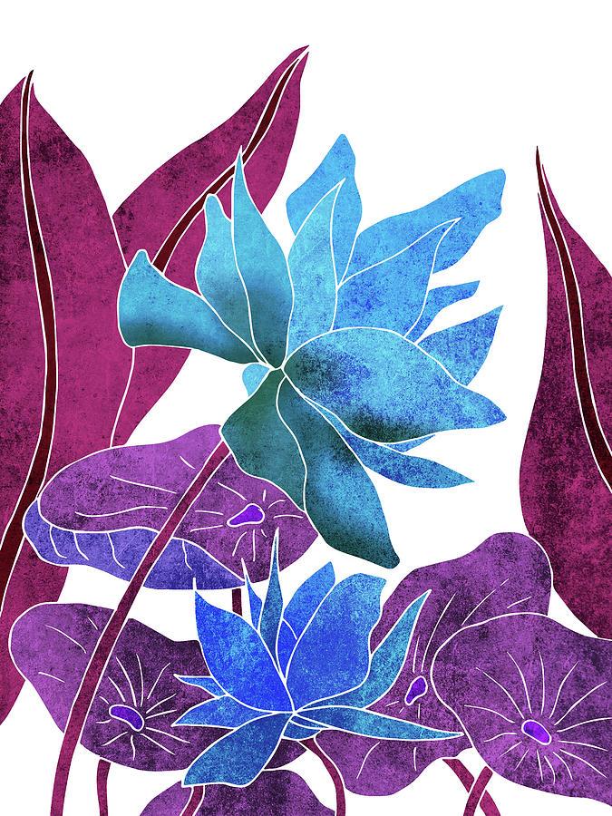Lotus Mixed Media - Blue Lotus flower - Botanical, Floral, Tropical Art - Modern, Minimal Decor - Blue, Purple, Indigo by Studio Grafiikka