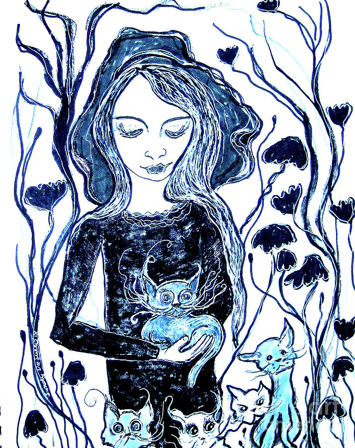 Blue, Mystical Cat Lady by Sandy DeLuca