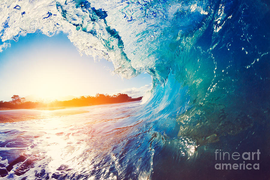 Tide Photograph - Blue Ocean Wave Crashing At Sunrise by Epicstockmedia