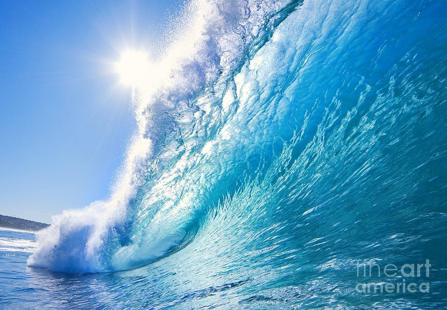 Sunshine Photograph - Blue Ocean Wave by Epicstockmedia